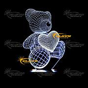 چراغ خواب سه بعدی طرح خرس و قلب